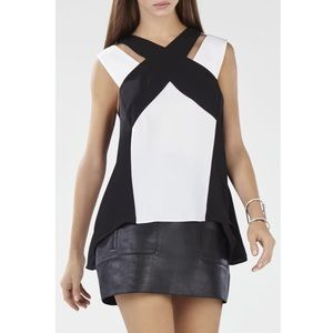 BCBG Top Shirt Strappy Black White Color-Blocked